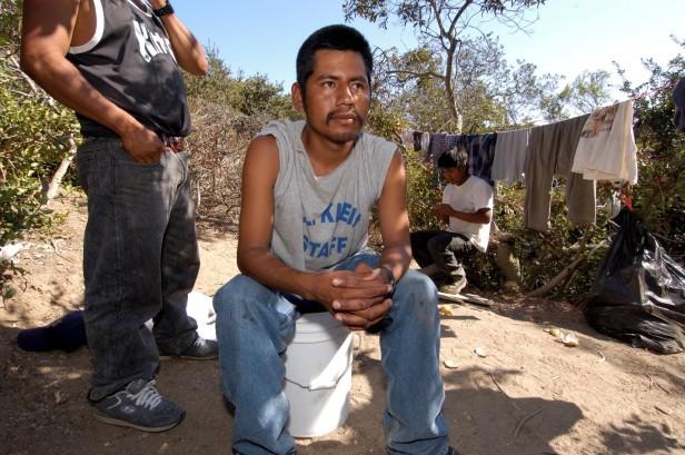 Farmworker in a migrant camp in southern California.